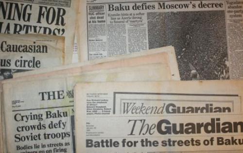 1990-cı ildə Britaniya mətbuatında 20 Yanvar barədə yazılanlar