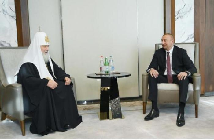 Prezident İlham Əliyev Patriarx Kirill ilə görüşüb - FOTOLAR