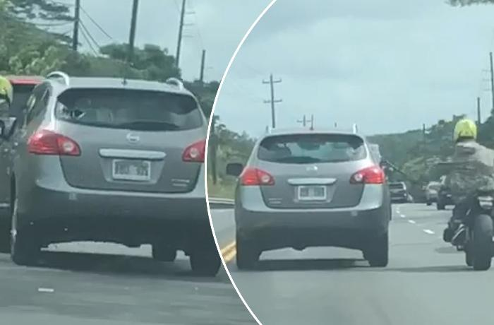 ABŞ-da sürücü ona hücum edən motoskletçiyə görün nə etdi - VİDEO