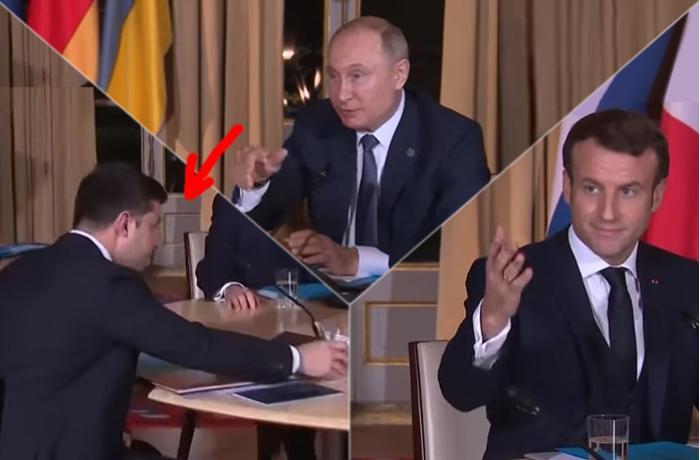 Zelenski görün nəyi unutdu, əvvəl Makron sonra Putin işarə ilə... - VİDEO