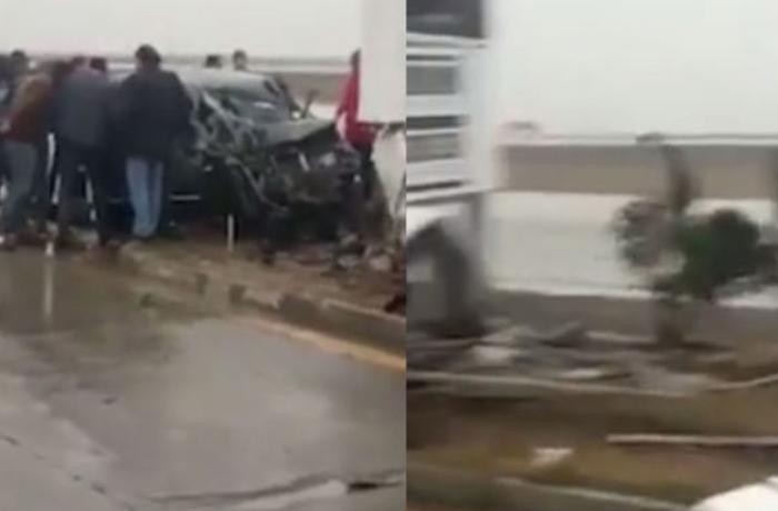 İki nəfərin ölümü ilə nəticələnən dəhşətli qəzanın görüntüləri - VİDEO