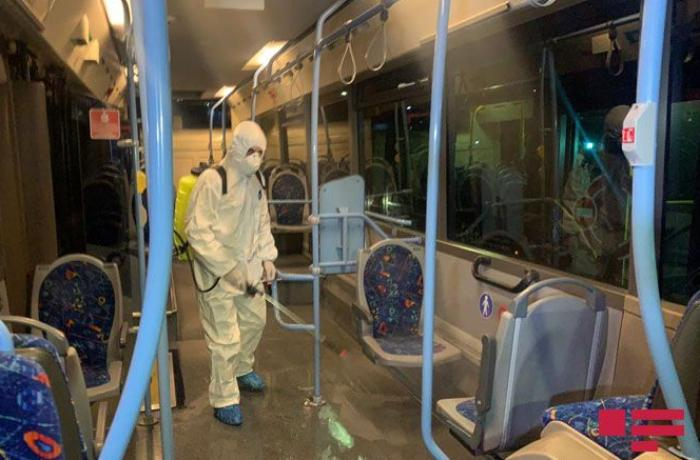 """""""Bakubus"""" MMC-nin qarajında avtobuslarda dezinfeksiya işləri aparılıb - FOTO"""