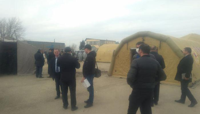 Biləsuvarda koronavirusa görə səyyar çadırlar quraşdırıldı