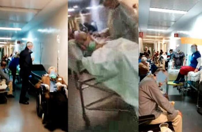 İspaniyada xəstəxanın dəhlizi koronavirusa yoluxan insanlarla dolub-daşır – VİDEO