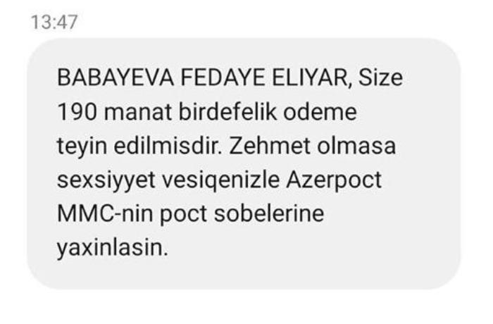 Eyni nömrəyə iki fərqli şəxs üçün 190 manatın təyin olunması ilə bağlı SMS  ...