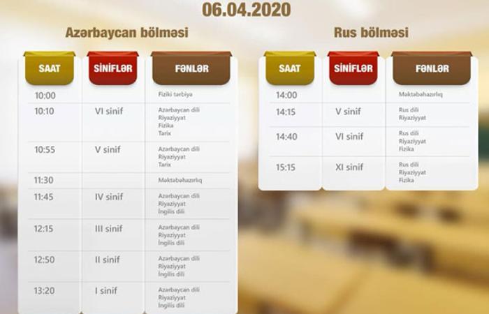 """""""Dərs vaxtı""""nın 6 aprel cədvəli müəyyənləşdi"""