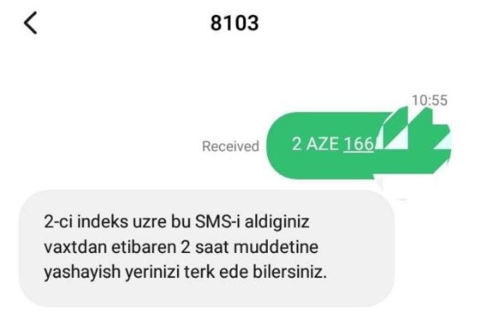 Küçəyə çıxmaq üçün göndərilən SMS-ə verilən cavab dəyişdirildi