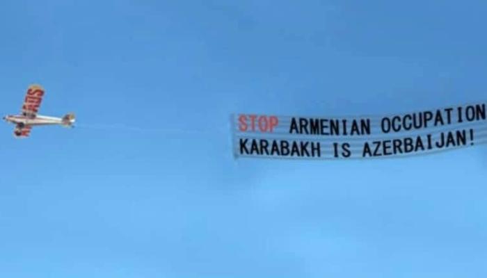 """Həmyerlimiz ABŞ-da """"Karabakh is Azerbaijan!"""" sözlərini havada dalğalandırdı"""