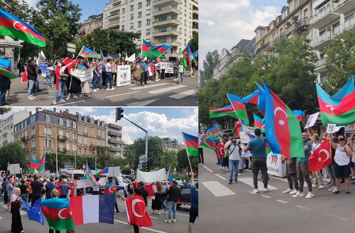 Azərbaycanlılar Avropa Şurasının mənzil-qərargahı qarşısında etiraz yürüşü  ...
