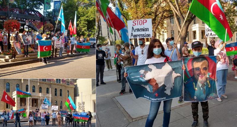 Kanadada şəhər mərkəzində Azərbaycan bayrağı ucaldılıb