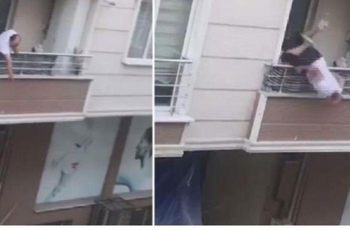 Qohumları ilə mübahisə edən kişi eyvandan yıxıldı - ANBAAN VİDEO