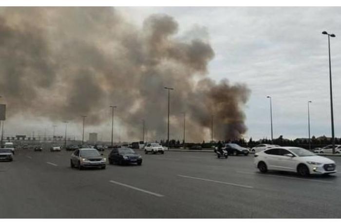 Bakı Olimpiya Stadionunun yaxınlığındakı yanğın söndürüldü