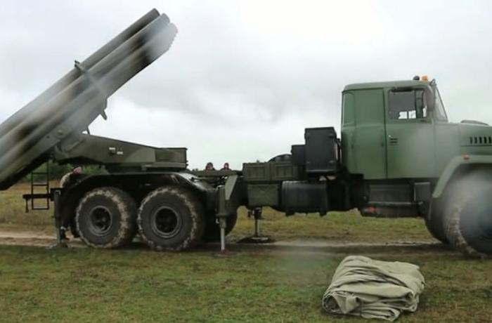 Azerbaijan's MoD: Armenian army's Uragan multiple launch rocket system destroyed