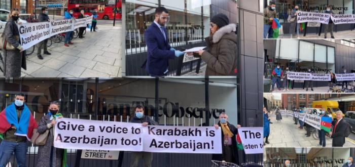 """Azərbaycanlılar """"Guardian"""" nəşrinin binası qarşısında aksiya keçirib"""