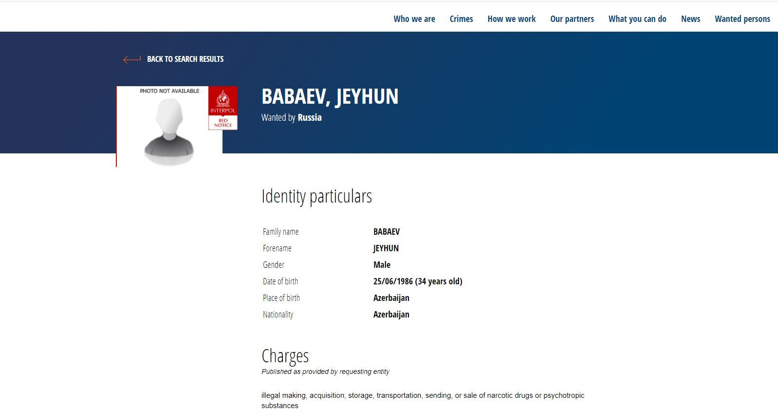 Russia declared wanted 34 years old Azerbaijani through Interpol