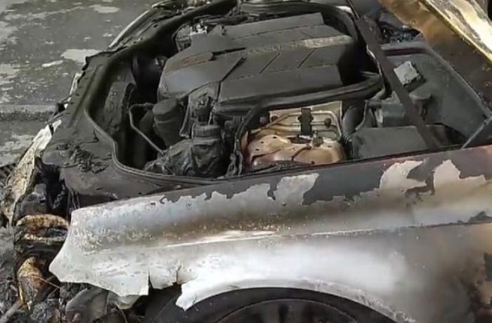 Zaqatalada vəkilə məxsus minik avtomobili yandı - VİDEO