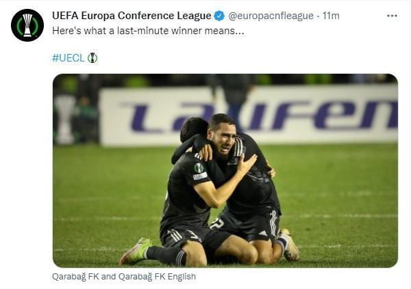 """UEFA-dan """"Qarabağ""""ın əzmkar qələbəsi ilə bağlı paylaşım - FOTO"""