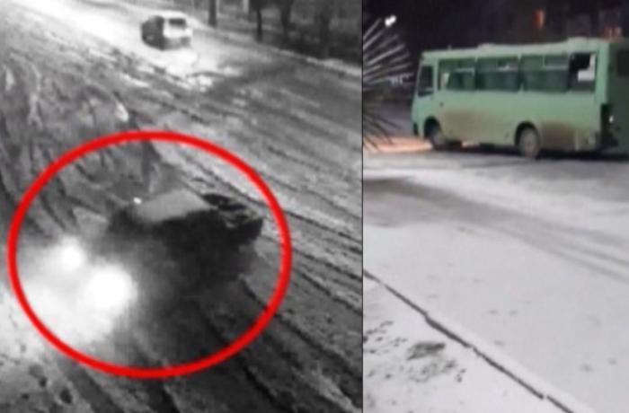 Qarlı havada avtoxuliqanlıq edən avtobus sürücüsü həbs edildi - VİDEO+FOTOLAR