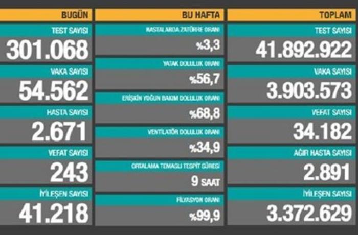 Türkiyədə son sutkada koronavirusdan 243 nəfər vəfat edib