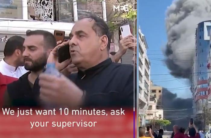 Canlı yayımda İsrail zabitindən 10 dəqiqə vaxt istədi - zabit razı olmadı bina bombalandı - VİDEO