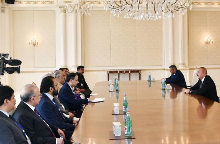 İlham Əliyev Pakistan Milli Assambleyasının sədrini qəbul edib