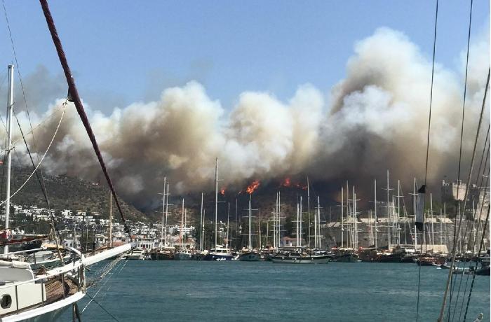 Türkiyədə daha bir meşə yanmağa başladı, otellər boşaldıldı - VİDEO