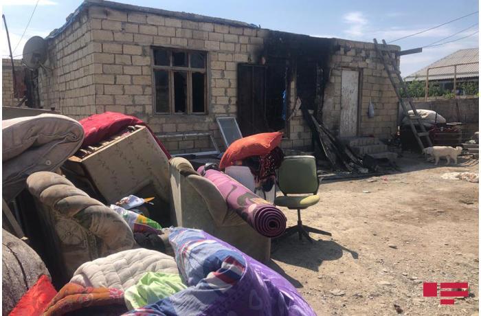 Sumqayıtda ata oğlu və gəlinin yaşadığı evi yandırıb - FOTOLAR
