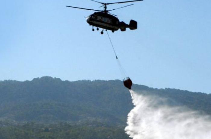 Yardımlıdakı meşə yanğınına helikopter cəlb edildi