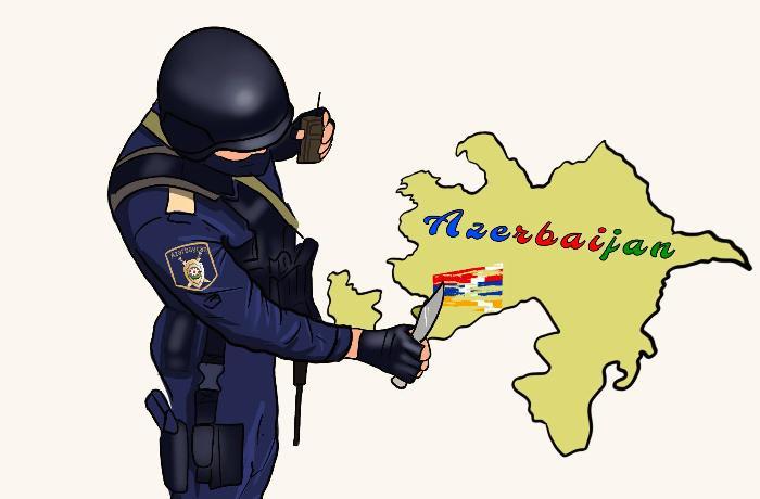 Azərbaycan polisinin qondarma bayrağı bıçaqla silməsinin karikaturası - FOTO
